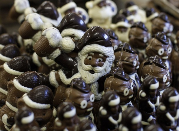 "andmade chocolate Santa Claus figures are pictured in the workshop of the ""Felicitas"" chocolate shop in Hornow"